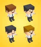 Businessman block isometric cartoon character Royalty Free Stock Images