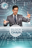 The businessman in blockchain cryptocurrency concept Stock Image
