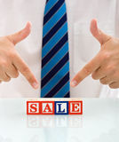 Businessman with blocks Stock Photo