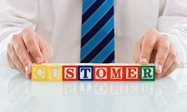 Businessman with blocks Royalty Free Stock Image