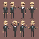 Businessman blond character in different poses Stock Photos