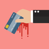 Businessman Bloody Hand Holding Credit Card Stock Image