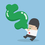 Businessman blowing air into dollar shape balloon. VECTOR, EPS10 Royalty Free Stock Photo