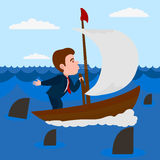 Businessman blowing into the sail boat vector Royalty Free Stock Photos