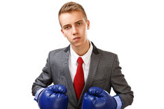 Businessman with blue boxing gloves Royalty Free Stock Image