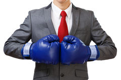 Businessman with blue boxing gloves Stock Photos
