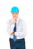 Businessman with blue hard hat Royalty Free Stock Image