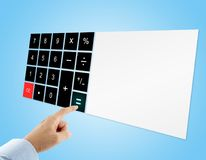 Businessman in blue shirt pressing equal sign button on touch screen digital calculator with blank display on blue background. Concept about virtual technology Royalty Free Stock Photography