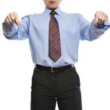 Businessman in blue shirt pretending like if holds something wit Stock Images