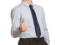Businessman in a blue shirt and a tie  in with a report and a th Stock Photography