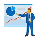 Businessman in blue suit shows a poster with charts. Stock Image
