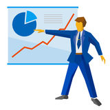 Businessman in blue suit shows a poster with growing charts. Royalty Free Stock Photo