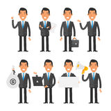 Businessman in blue tie in different poses Stock Photo
