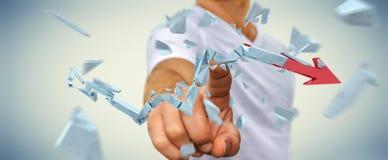 Businessman with broken crisis arrow 3D rendering. Businessman on blurred background with broken crisis arrow 3D rendering Stock Images