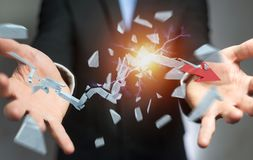 Businessman with broken crisis arrow 3D rendering. Businessman on blurred background with broken crisis arrow 3D rendering Stock Image