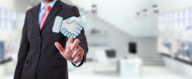 Businessman concluding a partnership 3D rendering. Businessman on blurred background concluding a partnership 3D rendering Stock Images