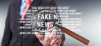Businessman discovering fake news information 3D rendering. Businessman on blurred background discovering fake news information 3D rendering Royalty Free Stock Image