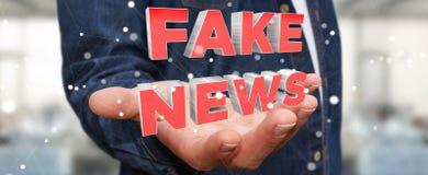 Businessman discovering fake news information 3D rendering. Businessman on blurred background discovering fake news information 3D rendering Stock Image