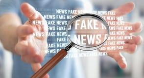 Businessman discovering fake news information 3D rendering. Businessman on blurred background discovering fake news information 3D rendering Stock Photos