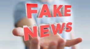 Businessman discovering fake news information 3D rendering. Businessman on blurred background discovering fake news information 3D rendering Royalty Free Stock Images