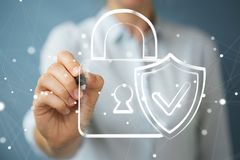 Businesswoman drawing a hand-drawn antivirus system Stock Images