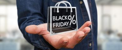 Businessman enjoying black Friday sales 3D rendering Royalty Free Stock Image