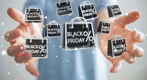 Businessman enjoying black Friday sales 3D rendering Royalty Free Stock Photo