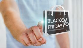 Businessman enjoying black Friday sales 3D rendering Royalty Free Stock Photos