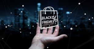 Businessman enjoying black Friday sales 3D rendering Stock Photos