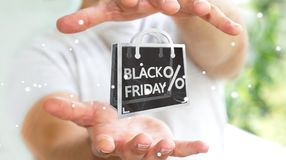 Businessman enjoying black Friday sales 3D rendering Stock Images