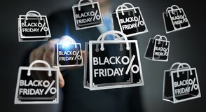 Businessman enjoying black Friday sales 3D rendering Stock Photography