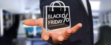 Businessman enjoying black Friday sales 3D rendering Royalty Free Stock Photography
