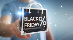 Businessman enjoying black Friday sales 3D rendering. Businessman on blurred background enjoying black Friday sales 3D rendering Stock Image