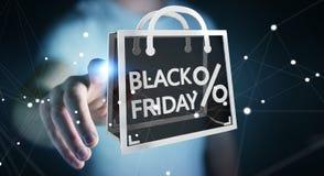 Businessman enjoying black Friday sales 3D rendering. Businessman on blurred background enjoying black Friday sales 3D rendering Royalty Free Stock Images