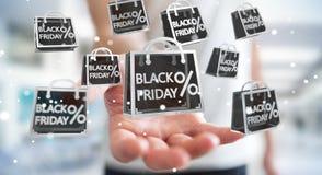 Businessman enjoying black Friday sales 3D rendering. Businessman on blurred background enjoying black Friday sales 3D rendering Stock Photos