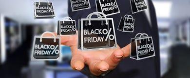 Businessman enjoying black Friday sales 3D rendering. Businessman on blurred background enjoying black Friday sales 3D rendering Royalty Free Stock Image