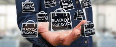 Businessman enjoying black Friday sales 3D rendering. Businessman on blurred background enjoying black Friday sales 3D rendering Royalty Free Stock Photos