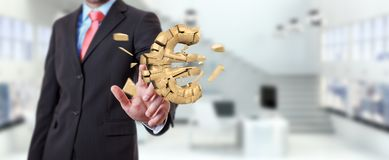 Businessman with exploding euro currency 3D rendering Stock Photo