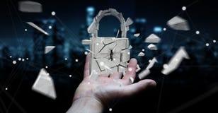 Businessman hacking in broken padlock security 3D rendering. Businessman on blurred background hacking in broken padlock security 3D rendering Stock Image