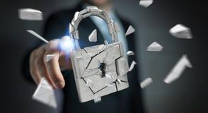 Businessman hacking in broken padlock security 3D rendering. Businessman on blurred background hacking in broken padlock security 3D rendering Royalty Free Stock Image