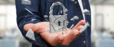 Businessman hacking in broken padlock security 3D rendering. Businessman on blurred background hacking in broken padlock security 3D rendering Royalty Free Stock Images