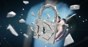 Businessman hacking in broken padlock security 3D rendering. Businessman on blurred background hacking in broken padlock security 3D rendering Royalty Free Stock Photography