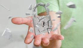 Businessman hacking in broken padlock security 3D rendering. Businessman on blurred background hacking in broken padlock security 3D rendering Stock Photography