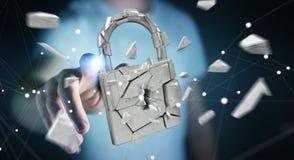 Businessman hacking in broken padlock security 3D rendering. Businessman on blurred background hacking in broken padlock security 3D rendering Royalty Free Stock Photos