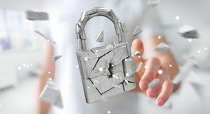 Businessman hacking in broken padlock security 3D rendering. Businessman on blurred background hacking in broken padlock security 3D rendering Royalty Free Stock Photo