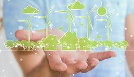 Businessman holding renewable energy sketch Stock Image