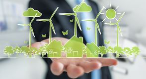 Businessman holding renewable energy sketch Royalty Free Stock Photos