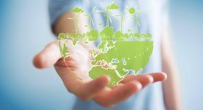 Businessman holding renewable energy sketch. Businessman on blurred background hloding renewable energy sketch stock illustration