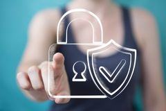 Businesswoman holding and touching a hand-drawn antivirus system Royalty Free Stock Photo