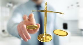 Businessman with justice weighing scales 3D rendering Royalty Free Stock Image